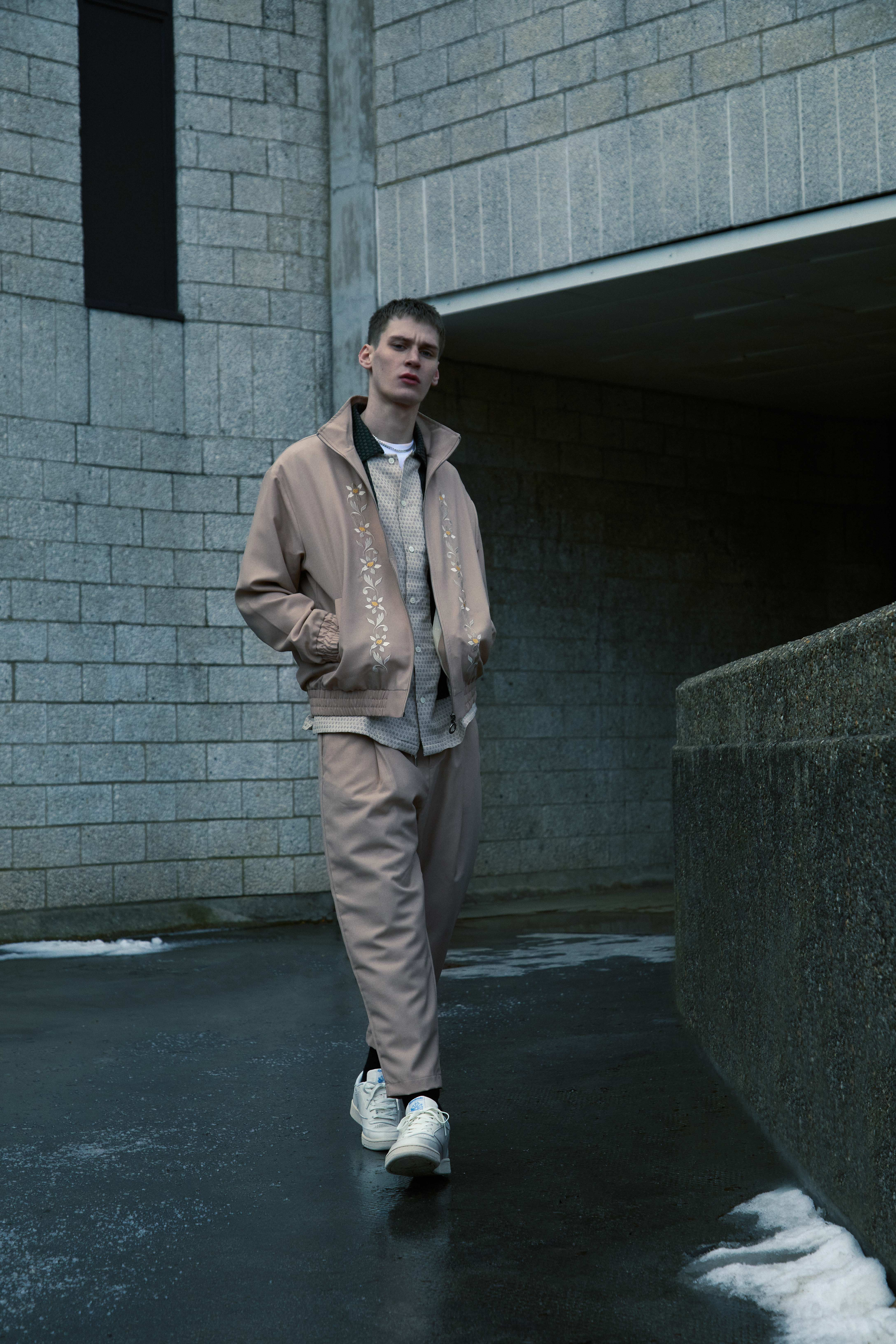 END. Required Item SS21: Track Pants - Model wears Drole de Monsiuer Cropped Drawstring Wool Pant