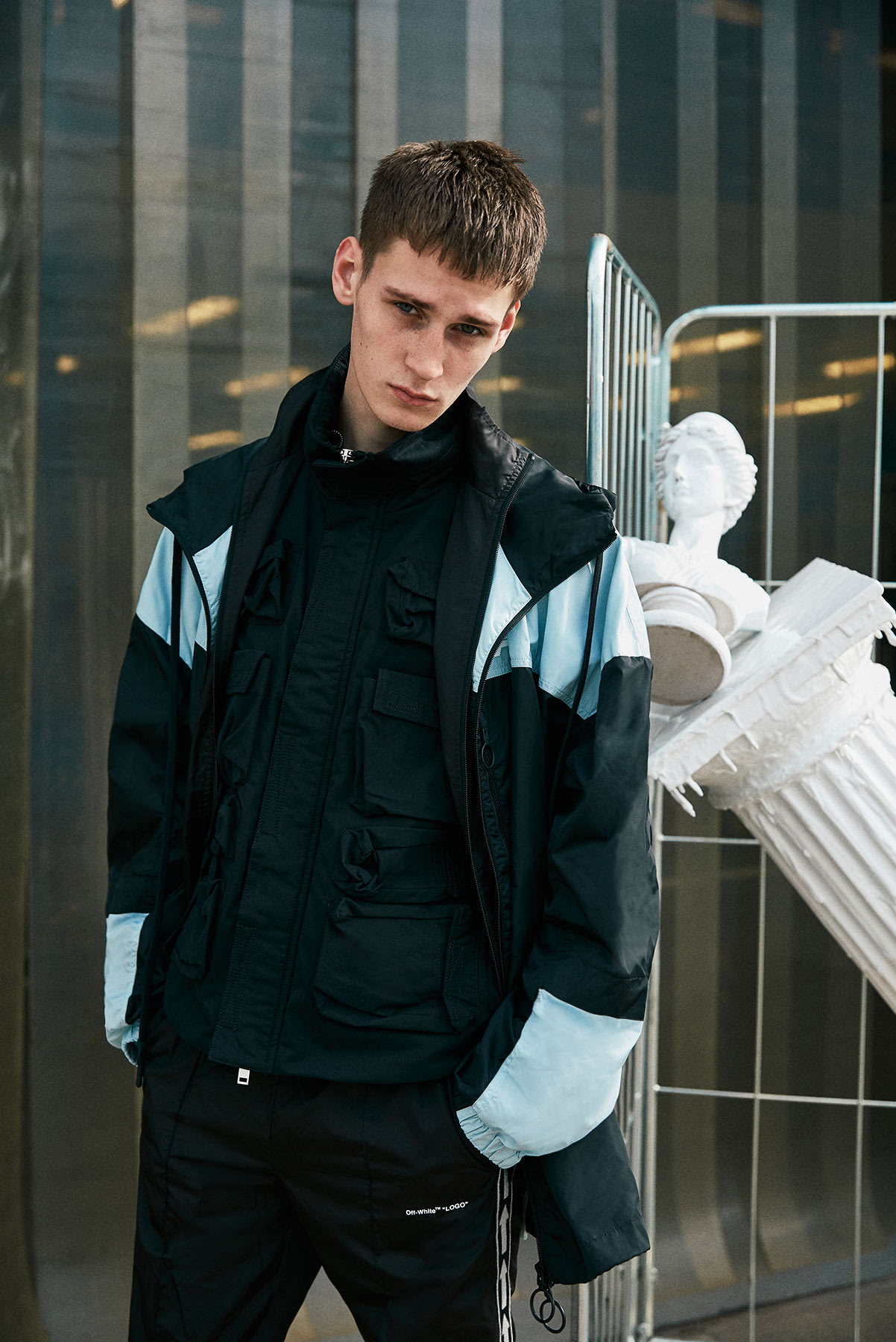 New Milan 2.0 END. AW19 Editorial .01 - Model wears Off-White and Unravel Project