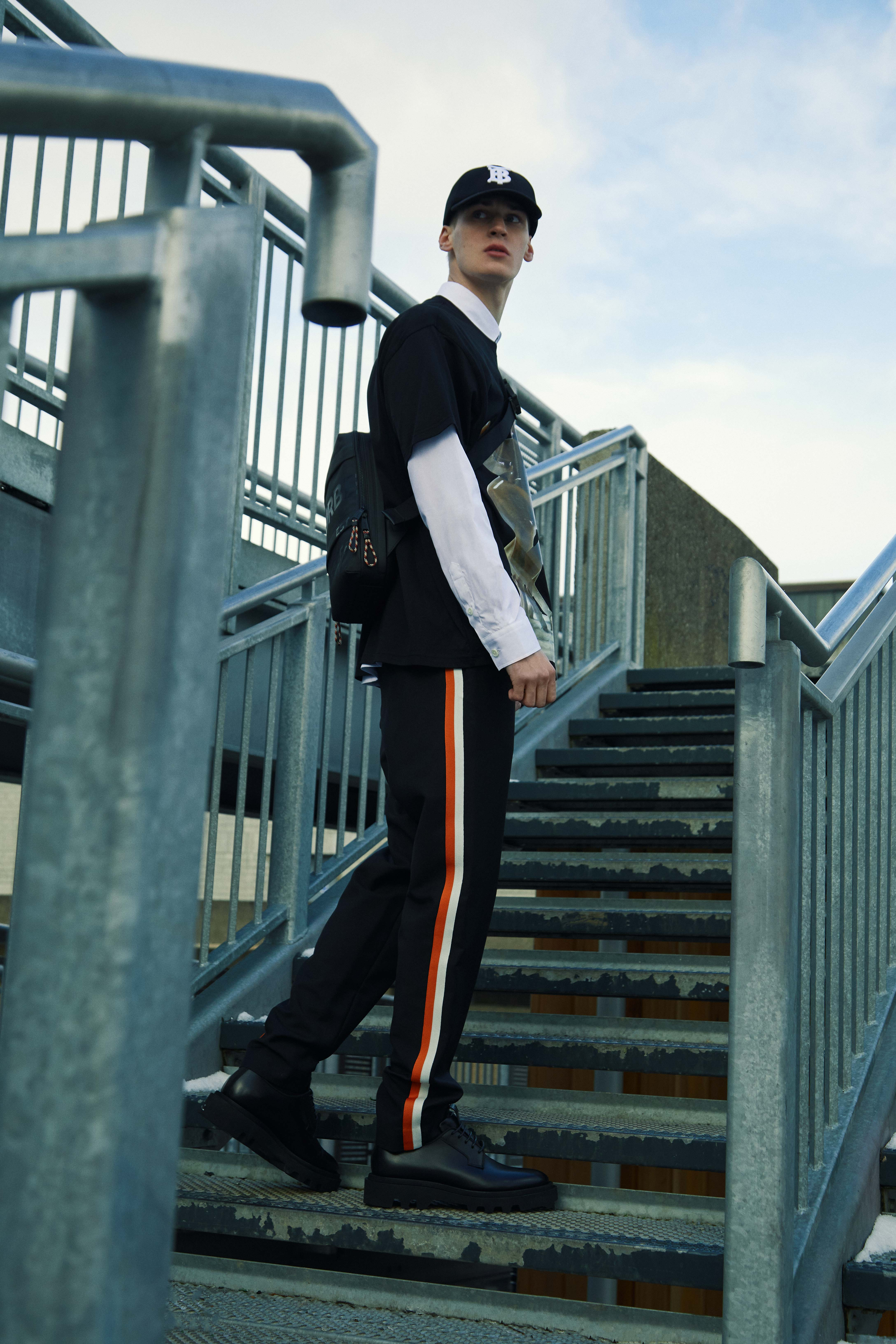 END. Required Item SS21: Track Pants - Model wears Burberry Slim Track Pant