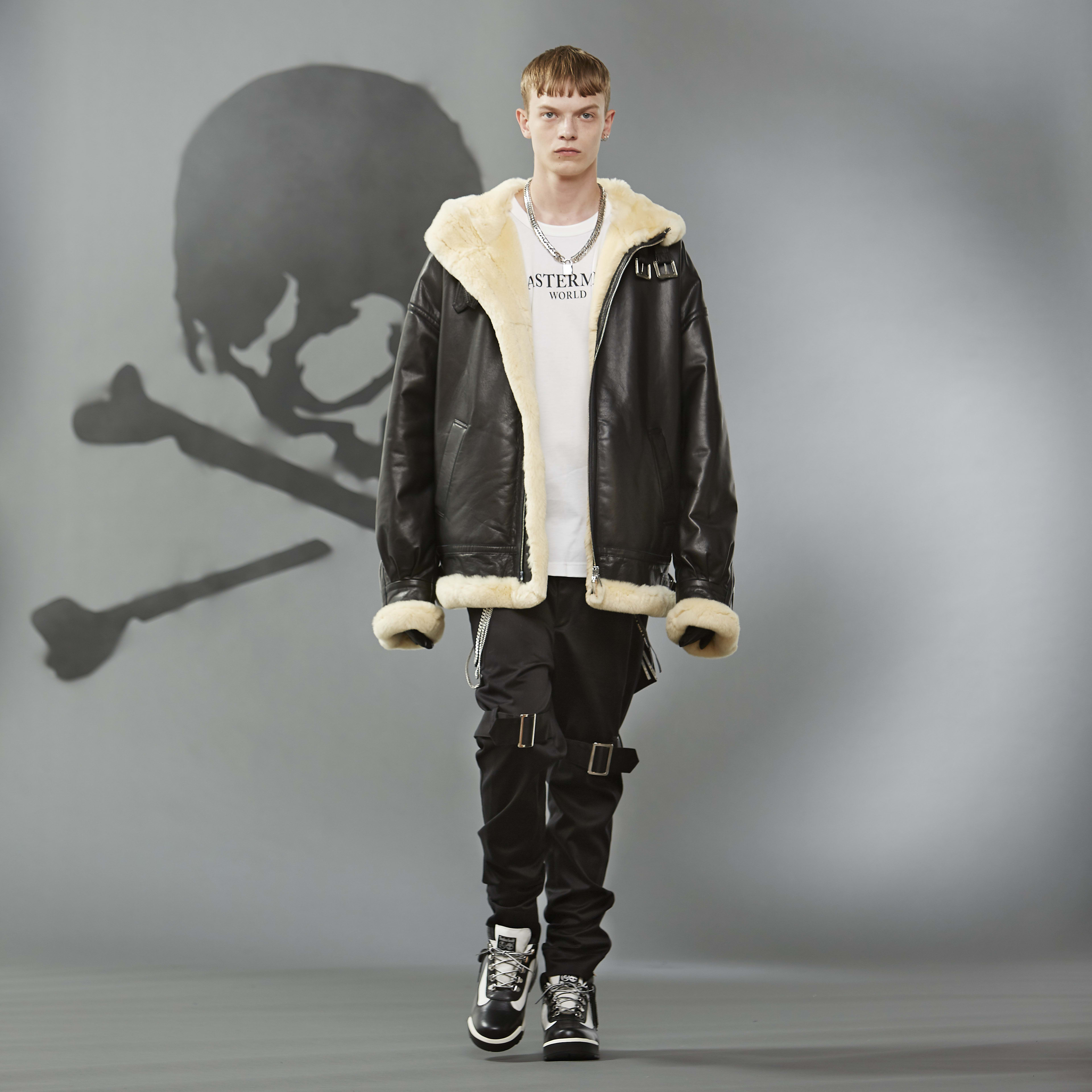 MASTERMIND WORLD FW19 look book presentation with oversized shearling coat