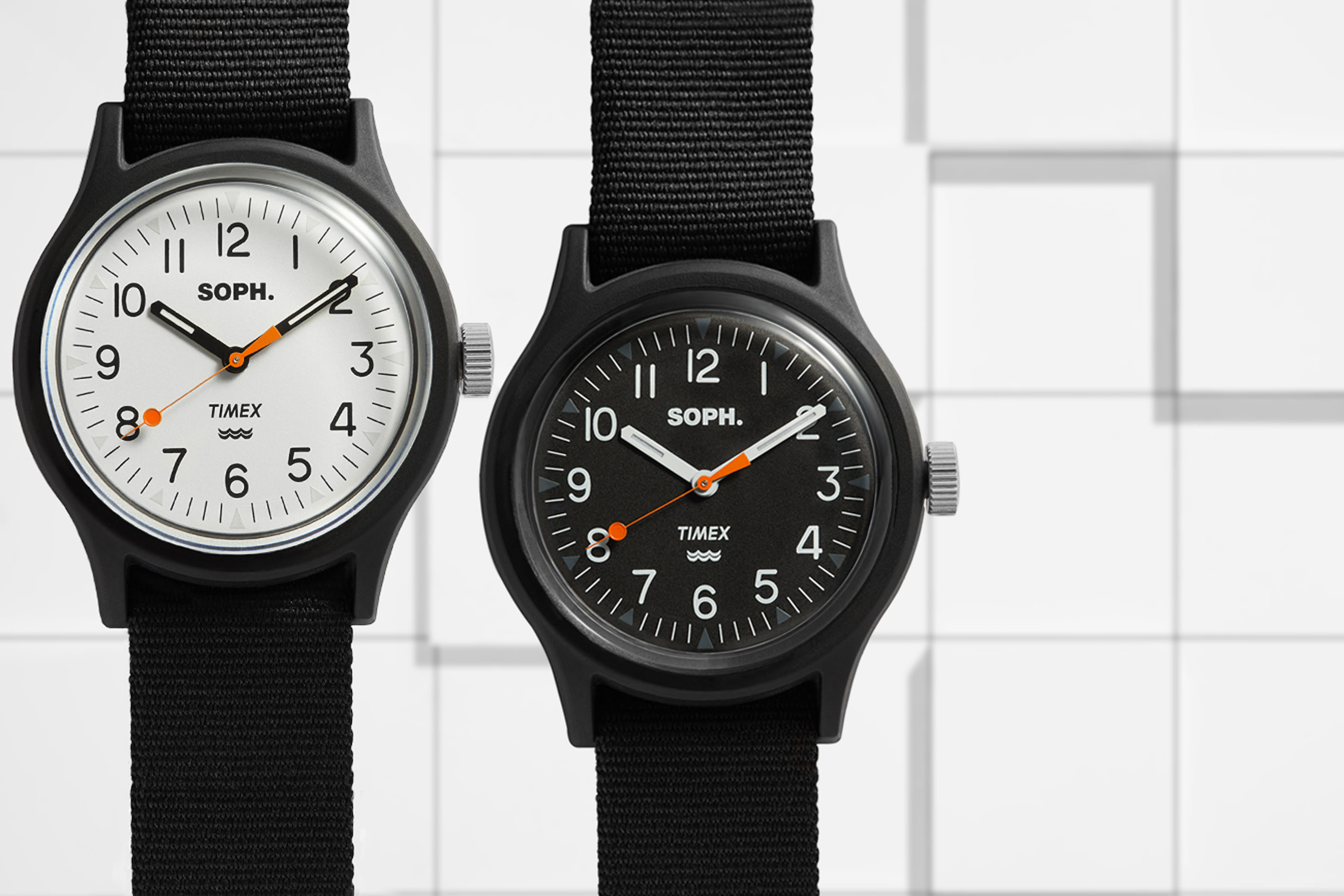 Both models in the END. collaboration with SOPH. and Timex.