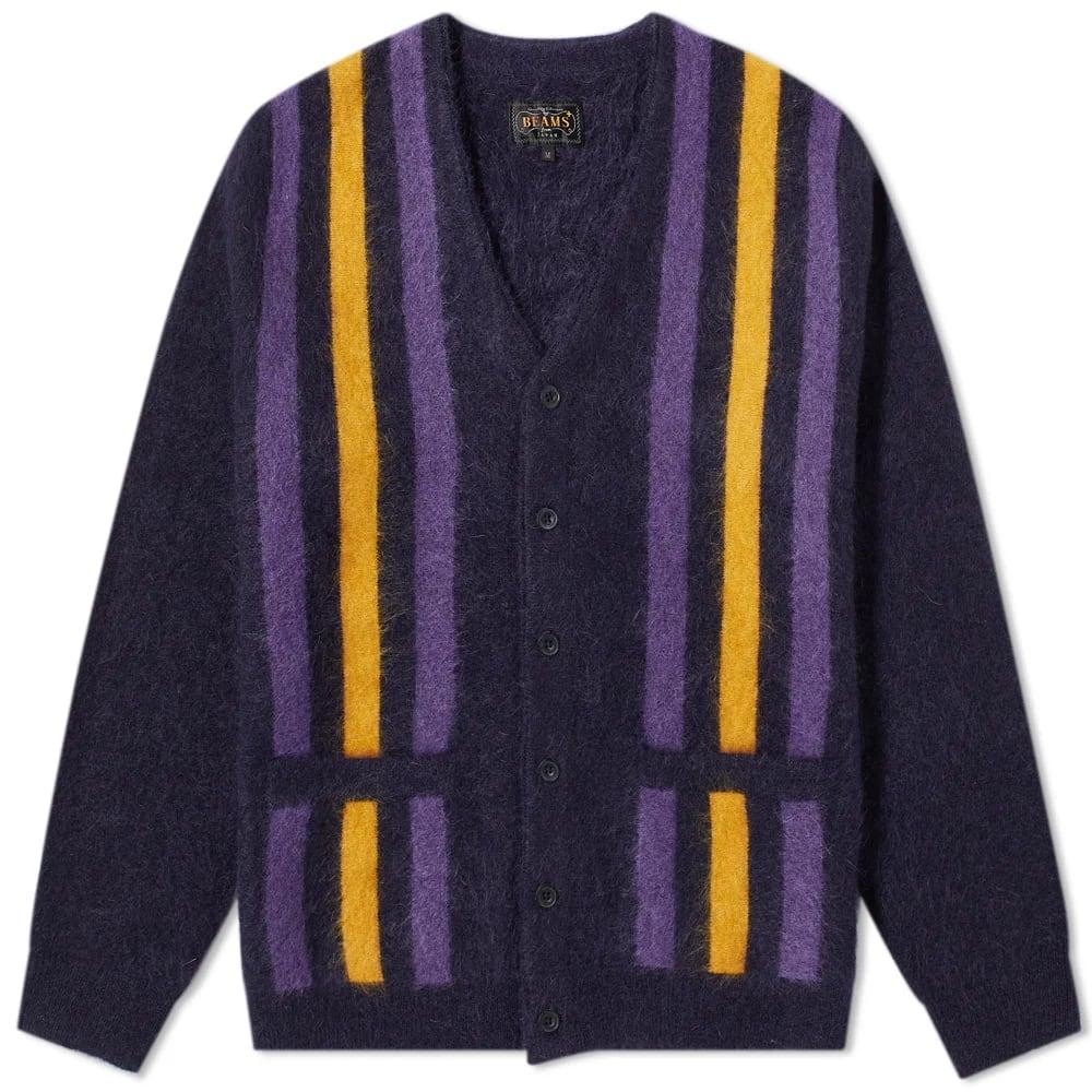 Beams Plus Striped Mohair Cardigan