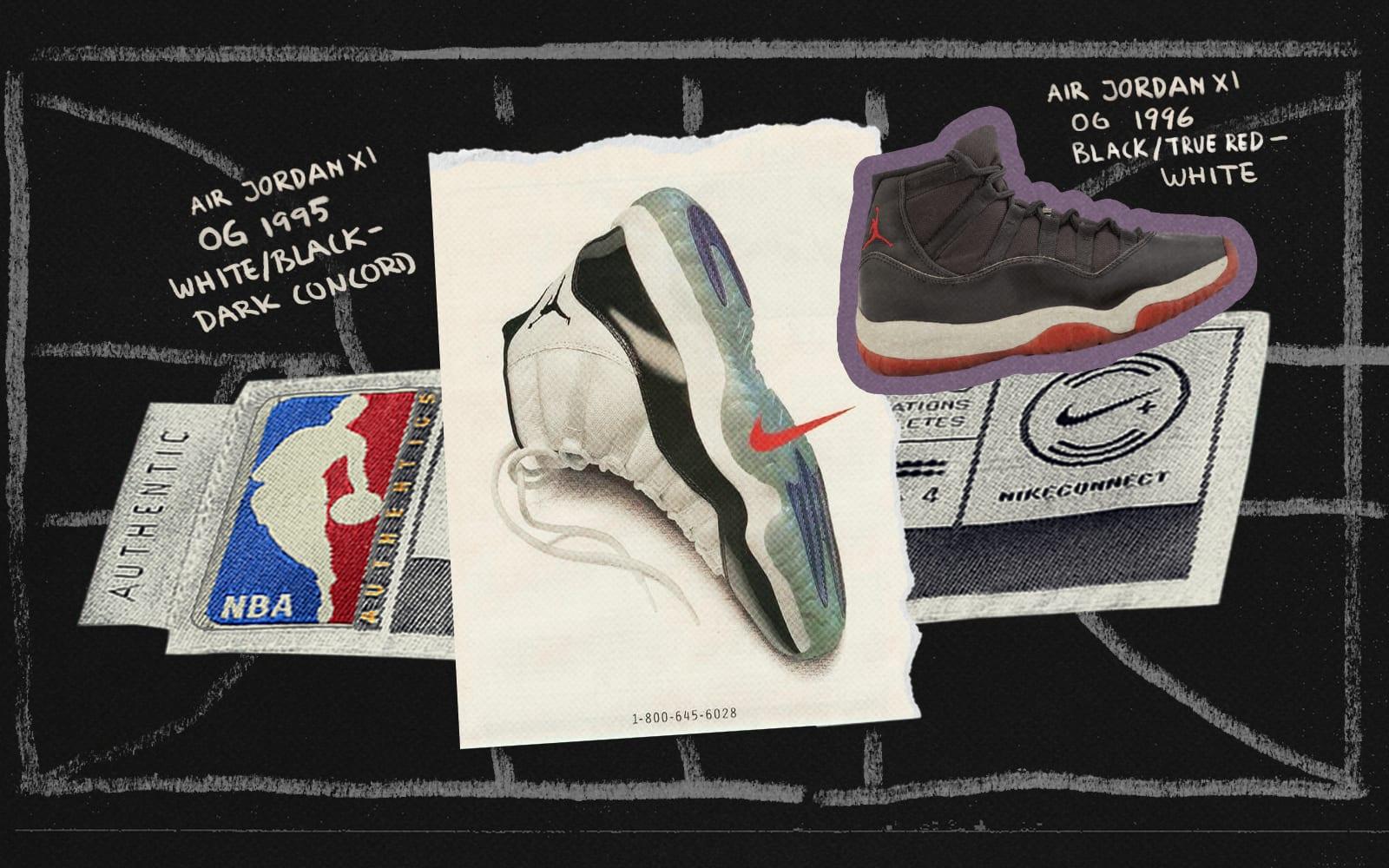 The Story of Michael Jordan's Favorite Sneaker: The Air Jordan 11 - scrapbook collage of Air Jordan imagery