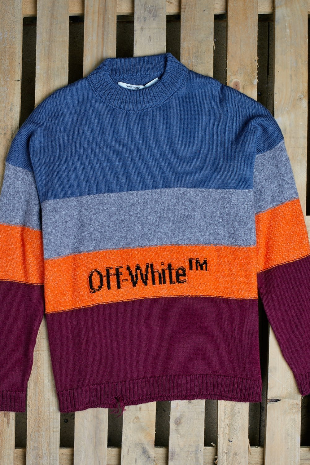 END. AW19 Required Item: Graphic Knitwear - off-model shot of AW19 Off-White knitted sweat by END.