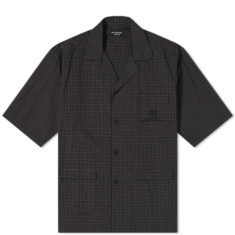 Balenciaga Short Sleeve Embroidered Pocket Check Logo Vacation Shirt