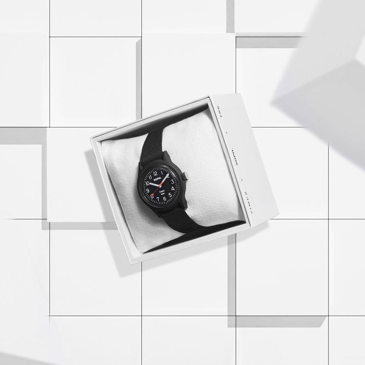 The END. x SOPH. x Timex MK1 watch in black.