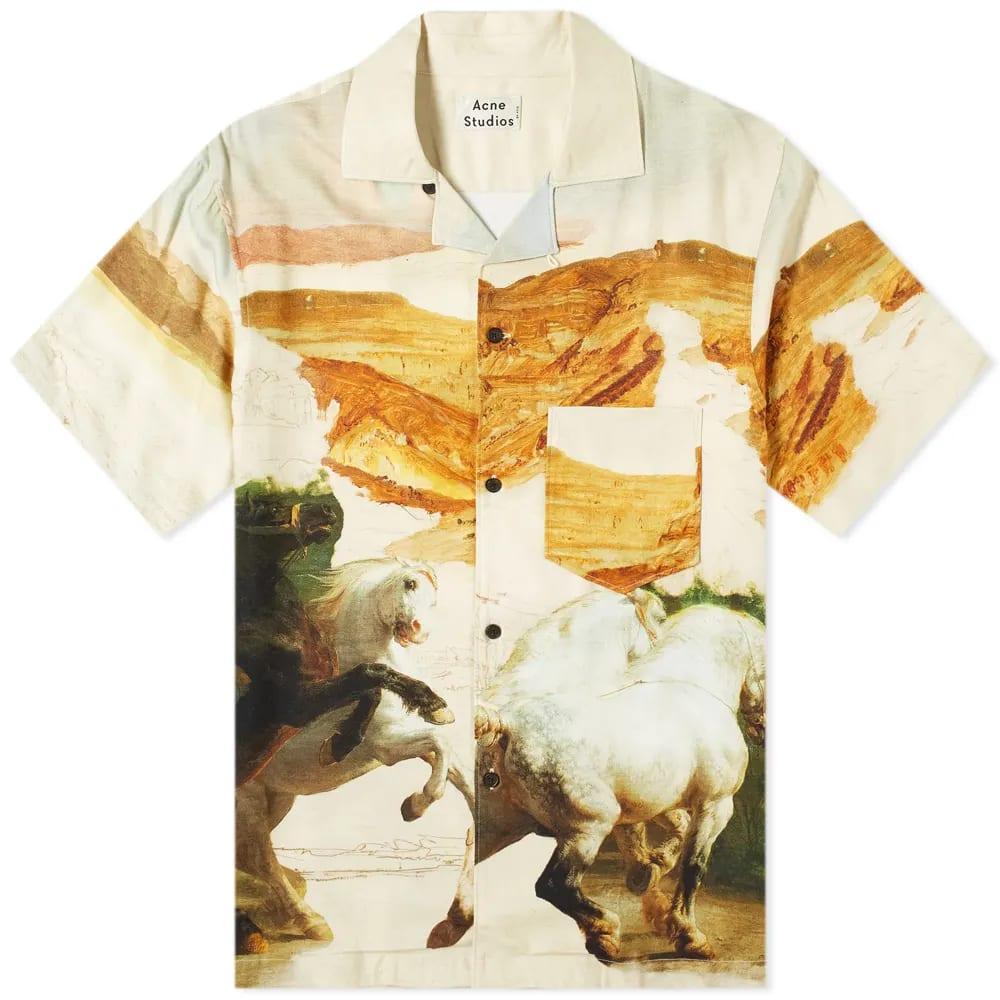 Acne Studios Simon Fluid Horse Vacation Shirt