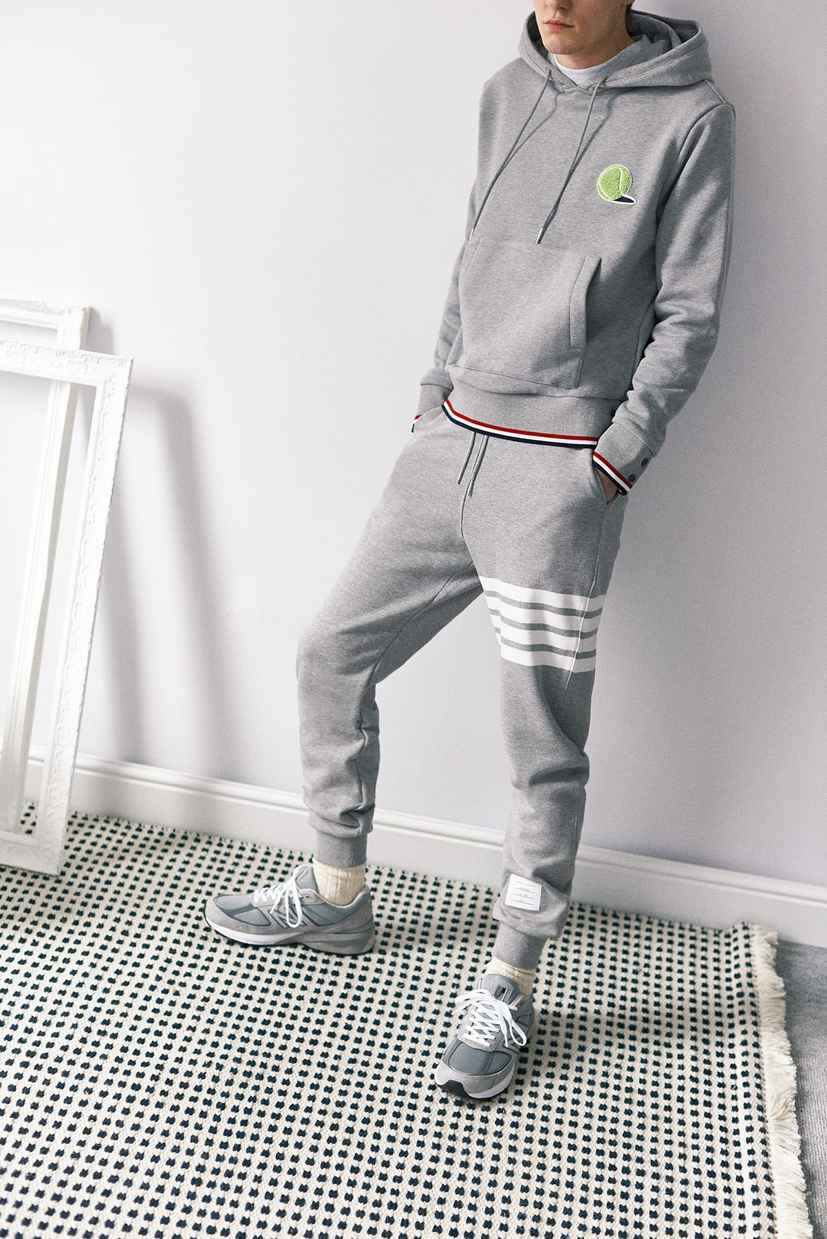 Home Body| END. SS20 Editorial .02 model wears Thom Browne and New Balance