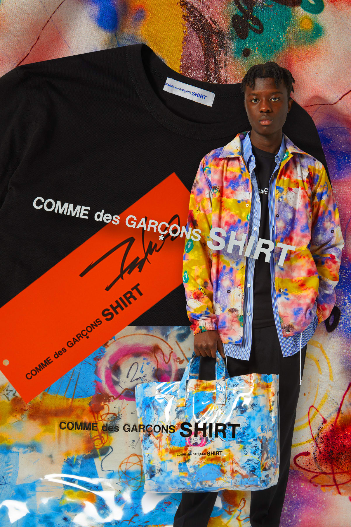 Curated 004 | Artists-in-Residence - Model Wears COMME DES GARCONS SHIRT x FUTURA Print A Coach Jacket