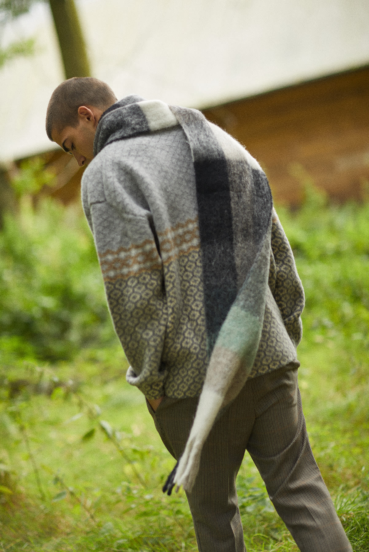 END. AW19 Required Item: Graphic Knitwear - model wears Acne Studios and Jil Sander for END.