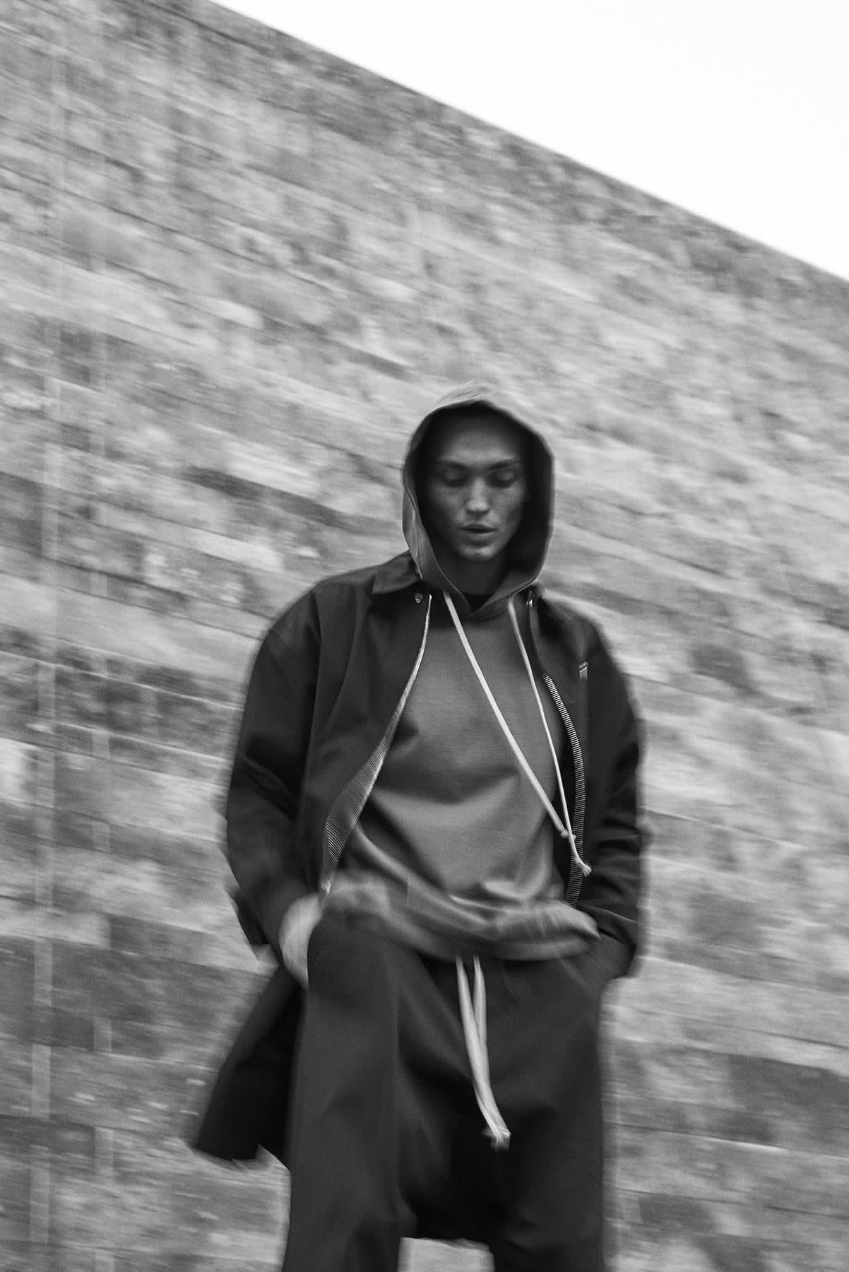 END. editorial for Rick Owens SS20 featuring the hoody in 'dust'