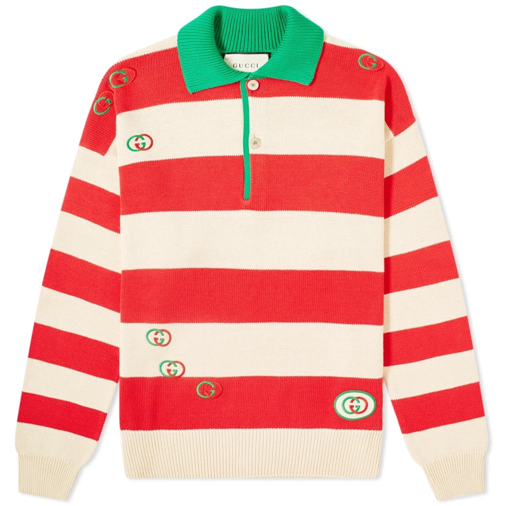 Gucci Striped Knit Logo Polo