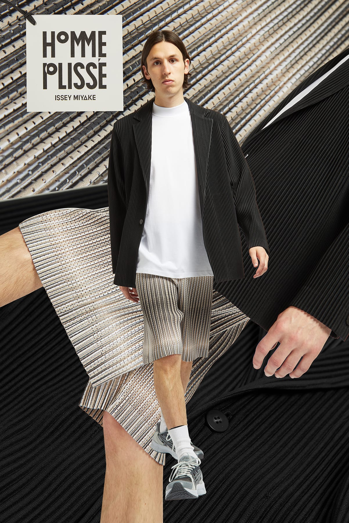 Curated 008 | Short-Stock - Model wears Homme Plisse Issey Miyake Hologram Mesh Shorts