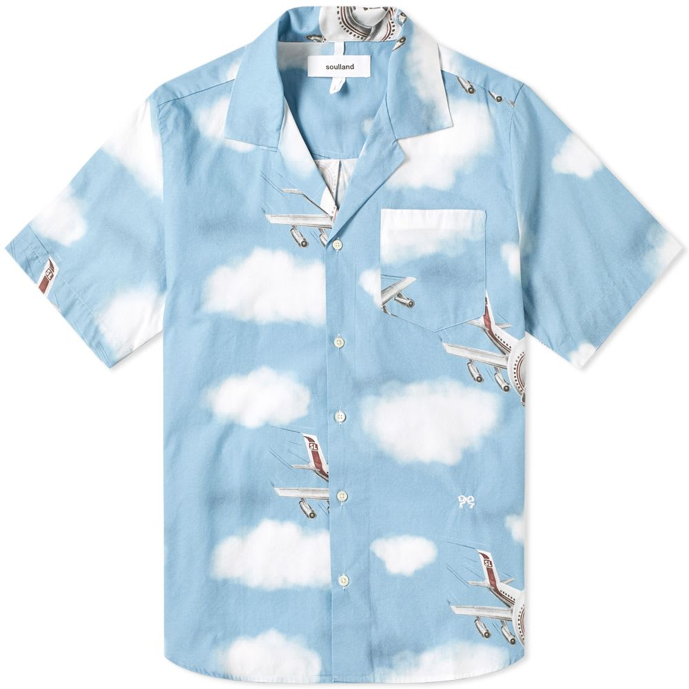 Short Sleeve Airplane Print Vacation Shirt