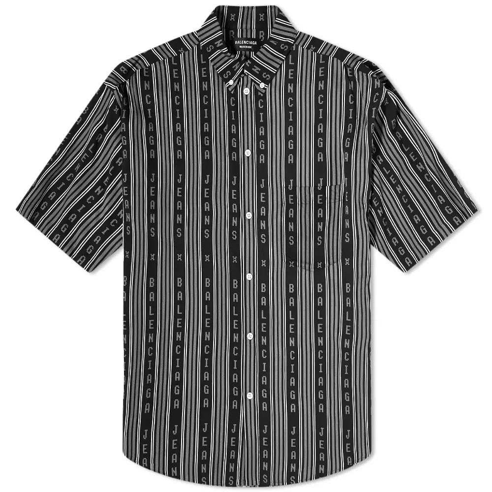 Balenciaga Short Sleeve Logo Stripe Shirt