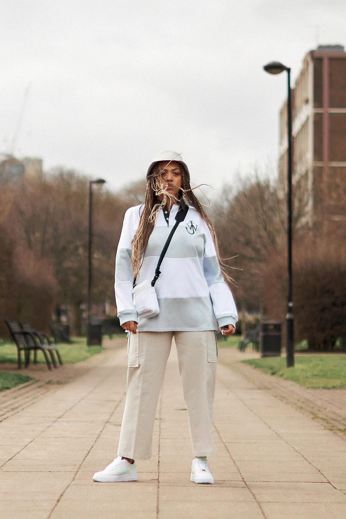 Mahalia wears JW Anderson, Acne Studios