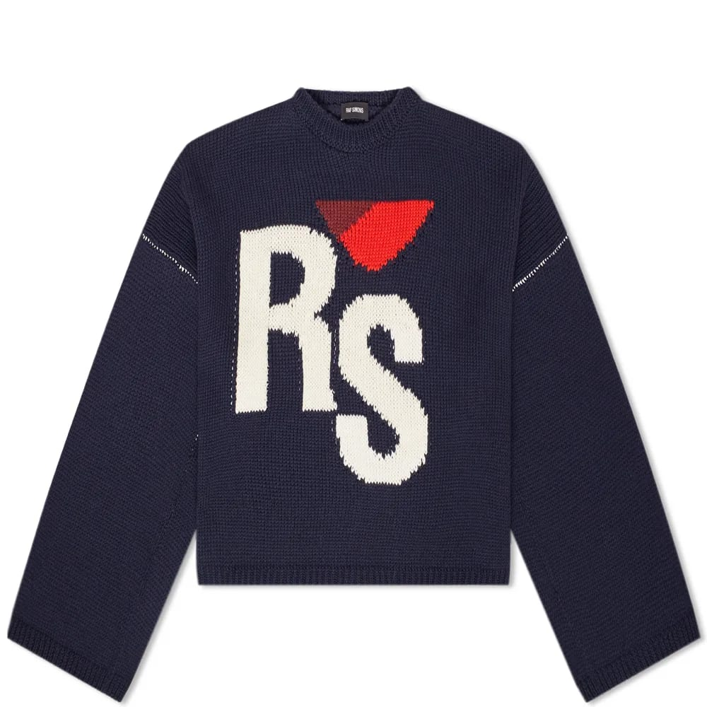 Raf Simons Cropped Oversized RS Crew Knit