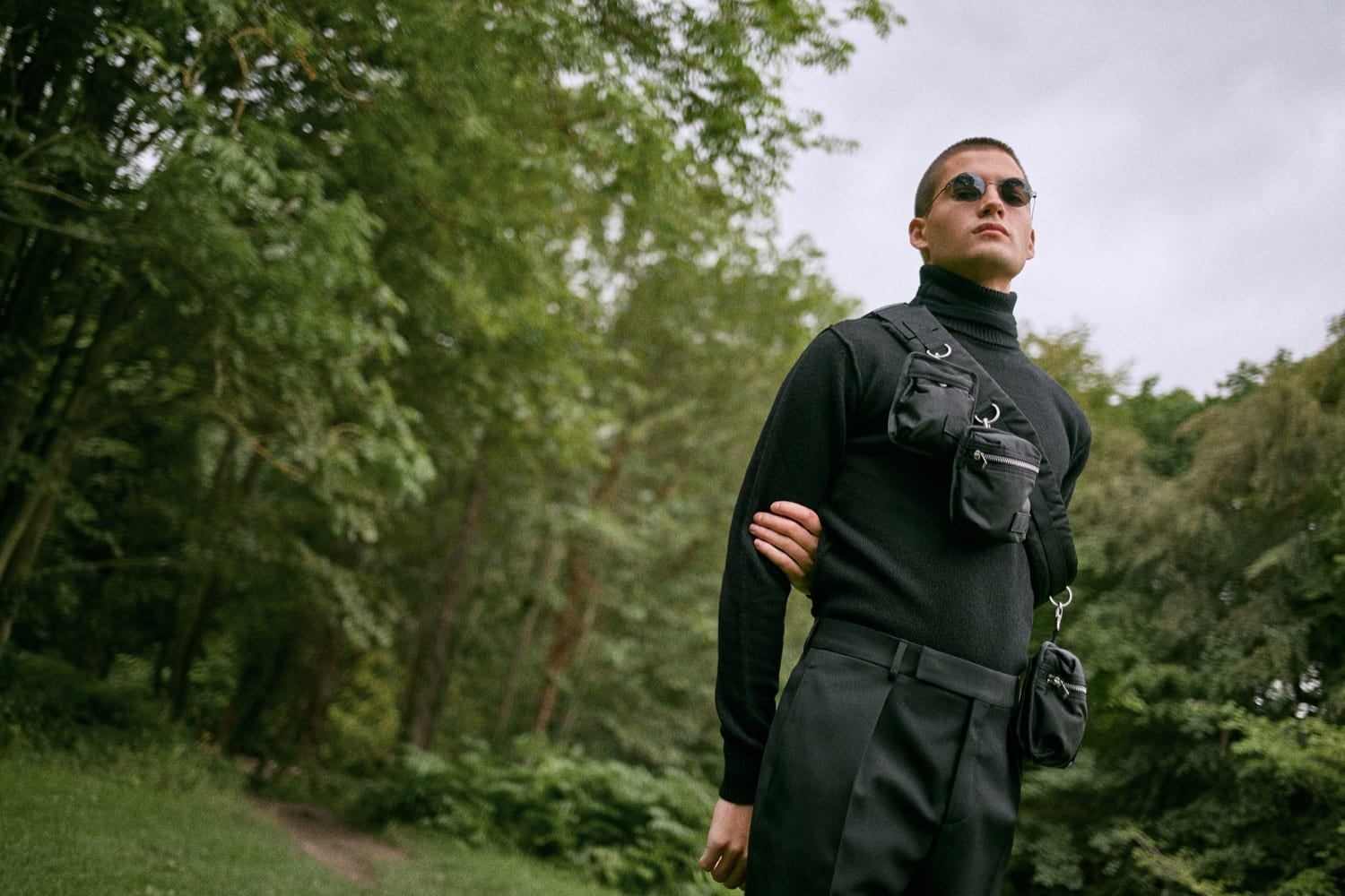 END. AW19 Required Item: Micro Bags - model wears Sacai x Porter-Yoshida & Co. Bag Belt for END.