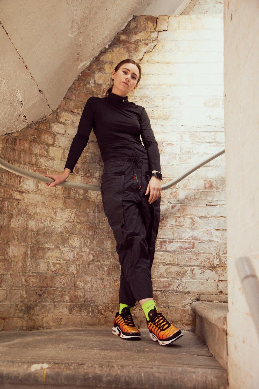 Mini Swoosh wears Nike ACG Cargo Pants and custom Nike Air Max Plus TN OG