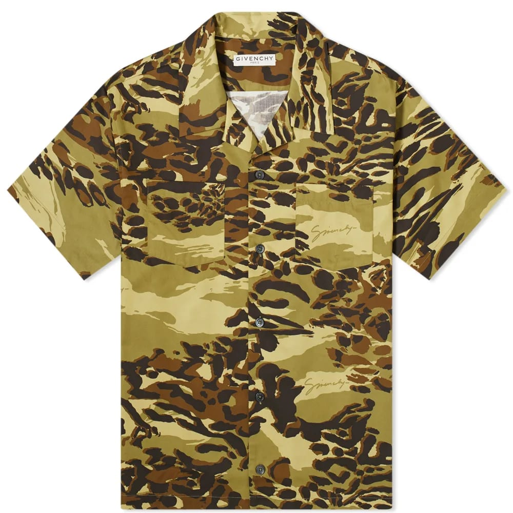 Givenchy Short Sleeve Cheetah Camo Hawaiian Shirt