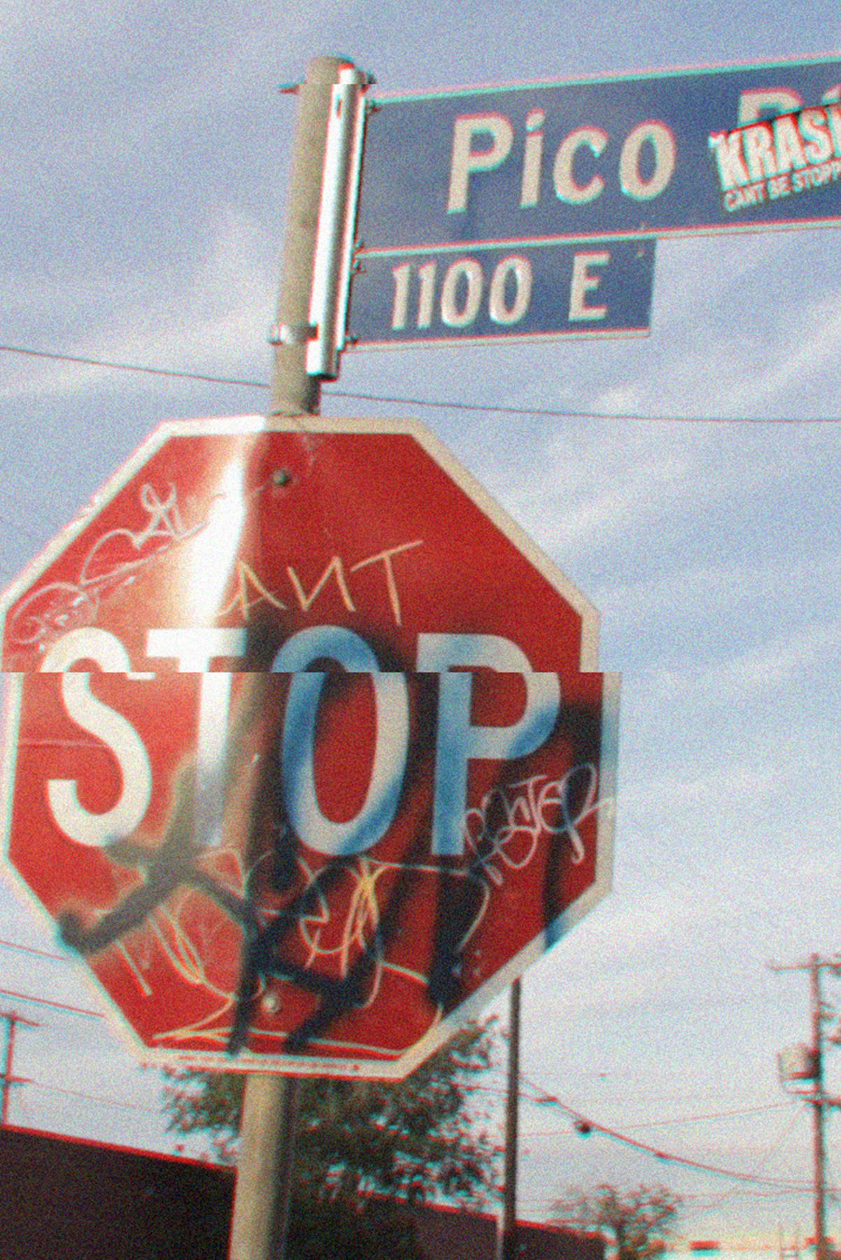 Stop sign in downtown LA near Rhude studio