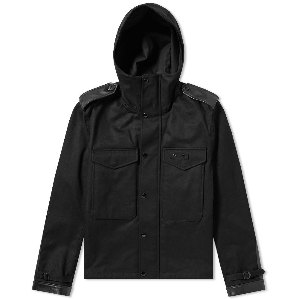 Saint Laurent Leather Detail Hooded Jacket
