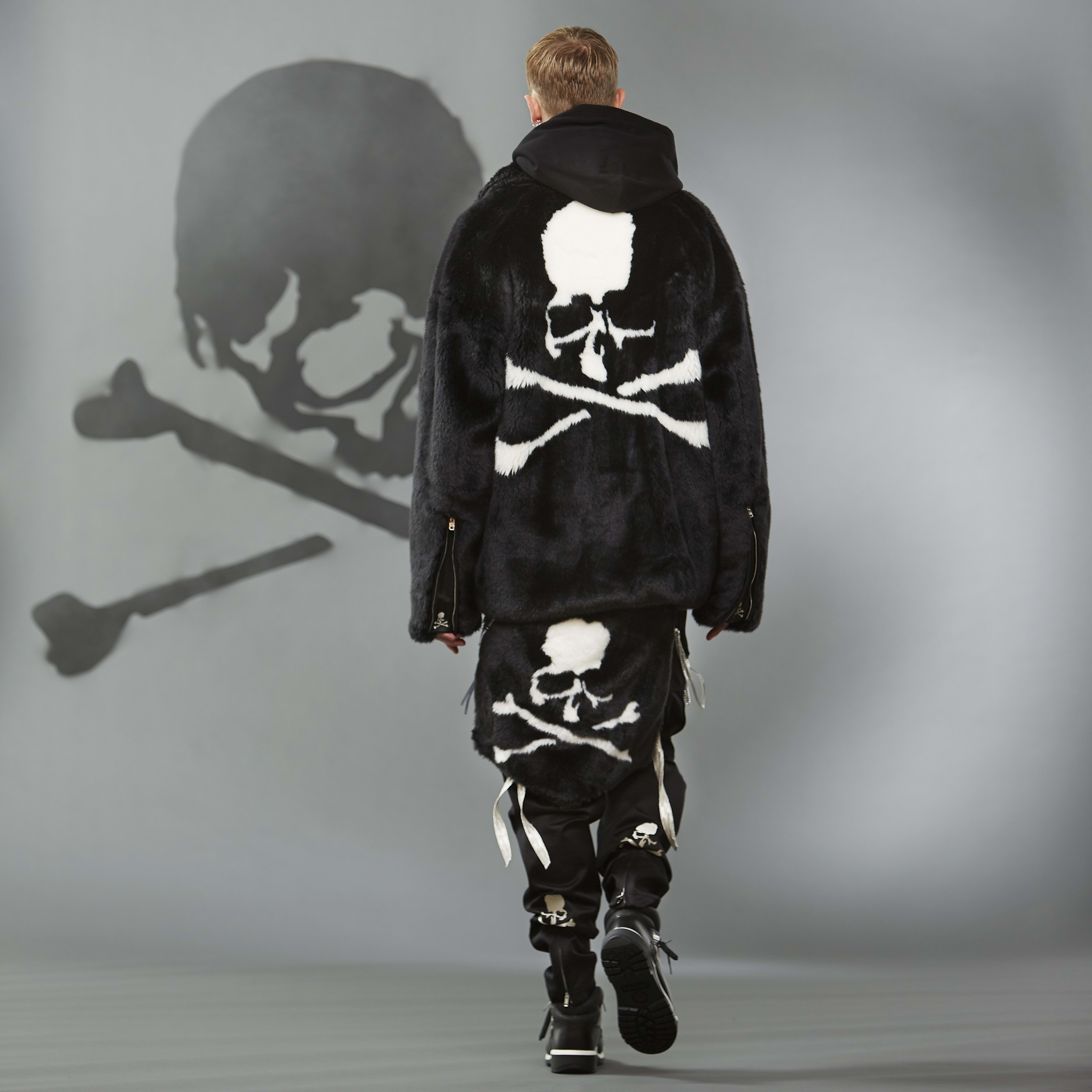 MASTERMIND WORLD FW19 look book presentation with black oversized coat and layered skull motifs