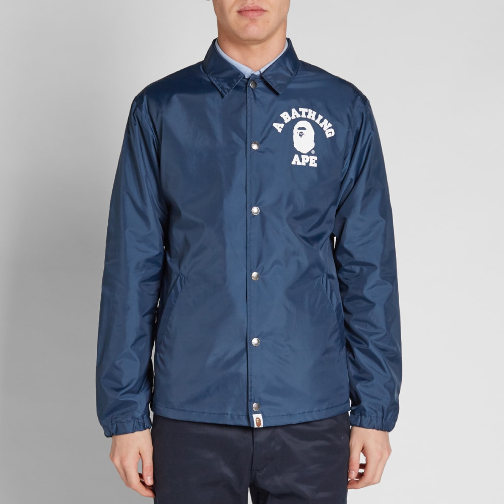 A Bathing Ape College Coach Jacket Navy