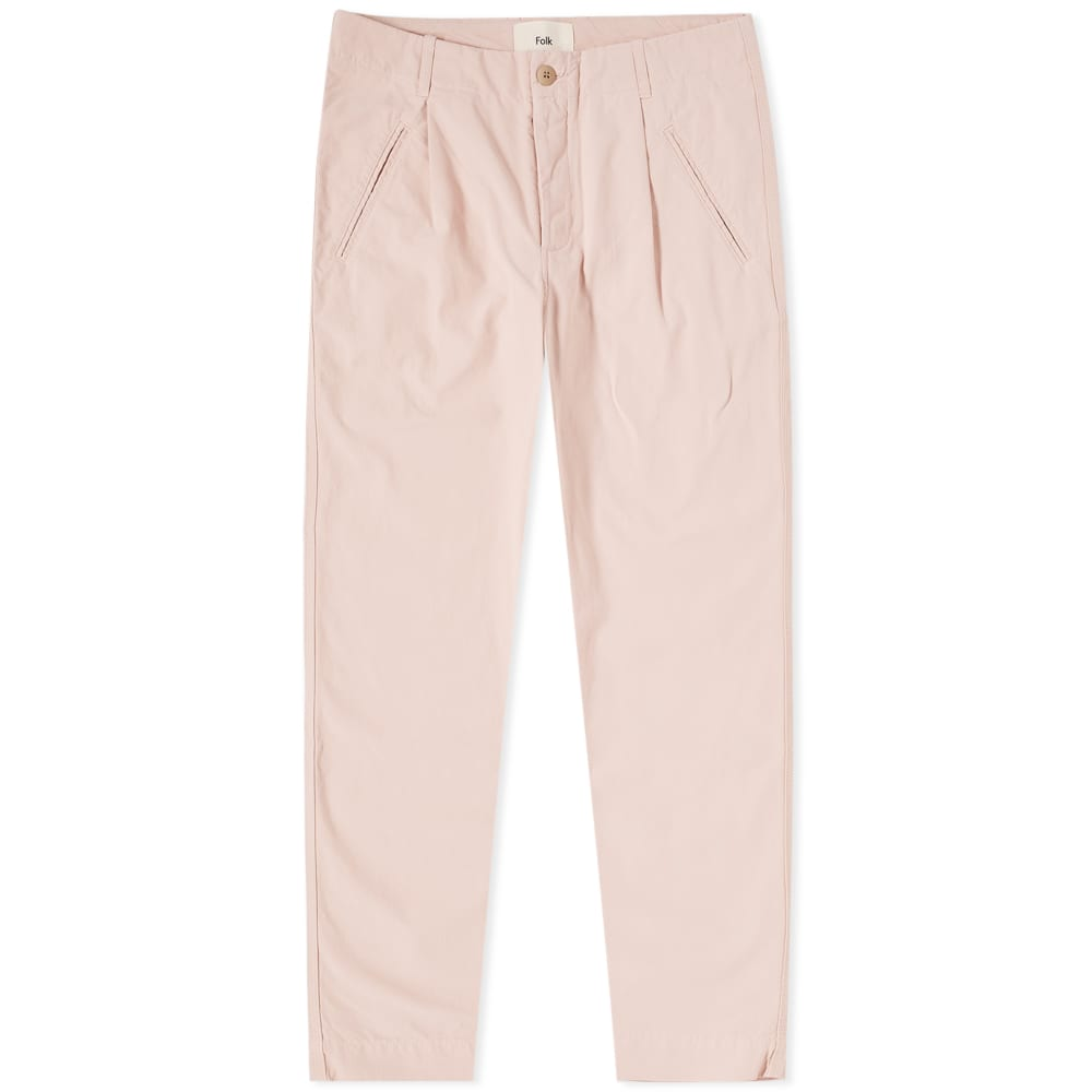 FOLK Assembly Tapered Cotton-Canvas Trousers - Pink