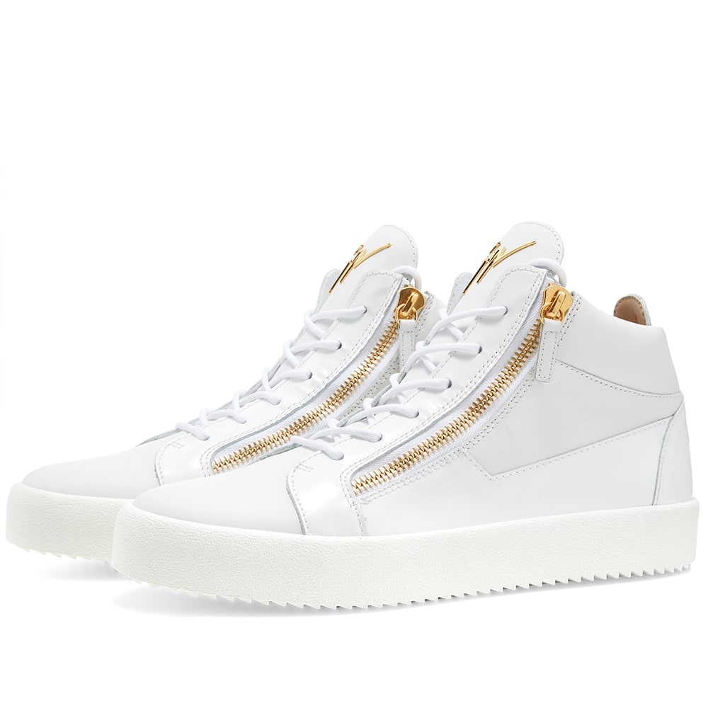 uk availability 39c30 a622a Giuseppe Zanotti Double Zip Leather Mid Sneaker White   Gold   END.