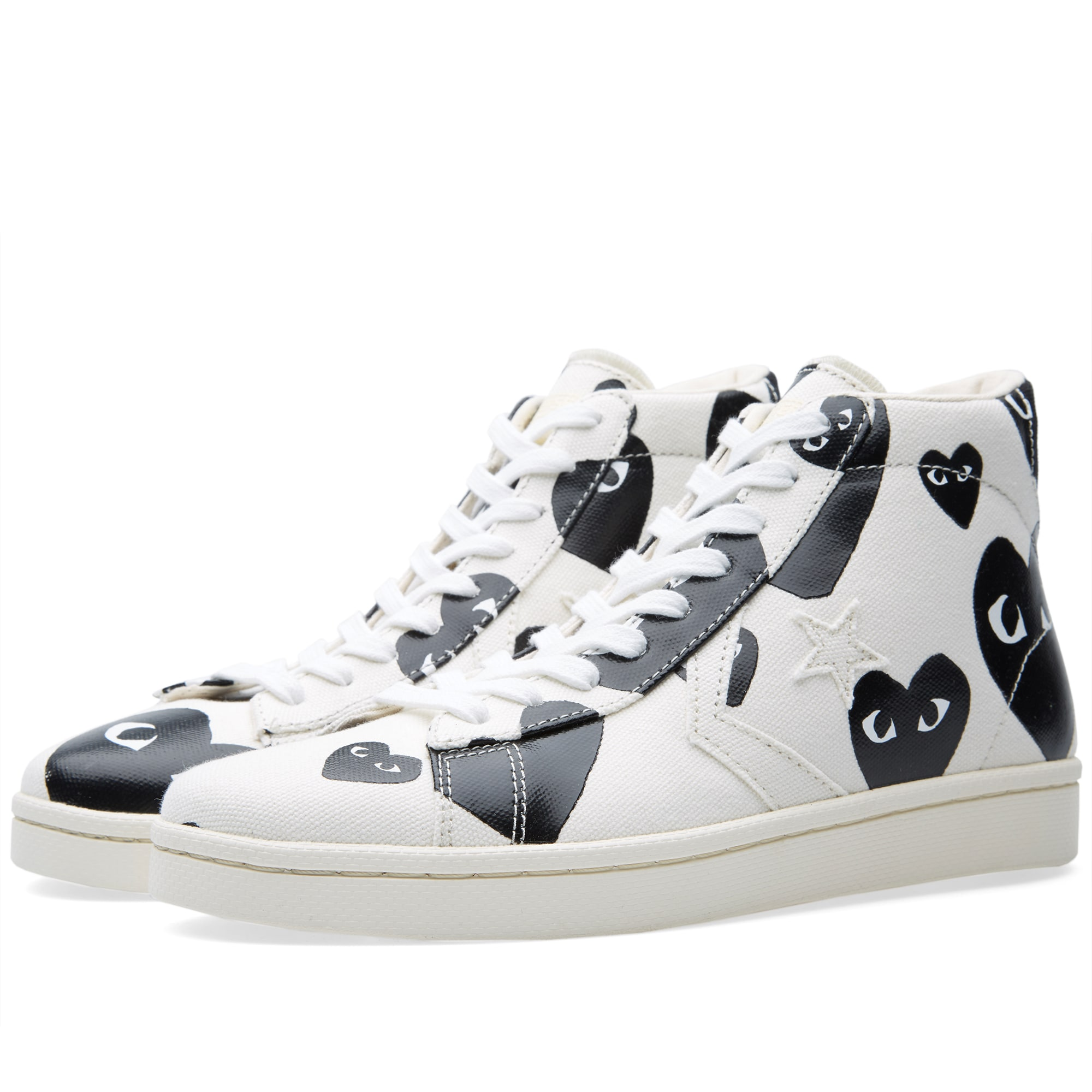 Comme Des Garcons Play X Converse Pro Leather Hi White