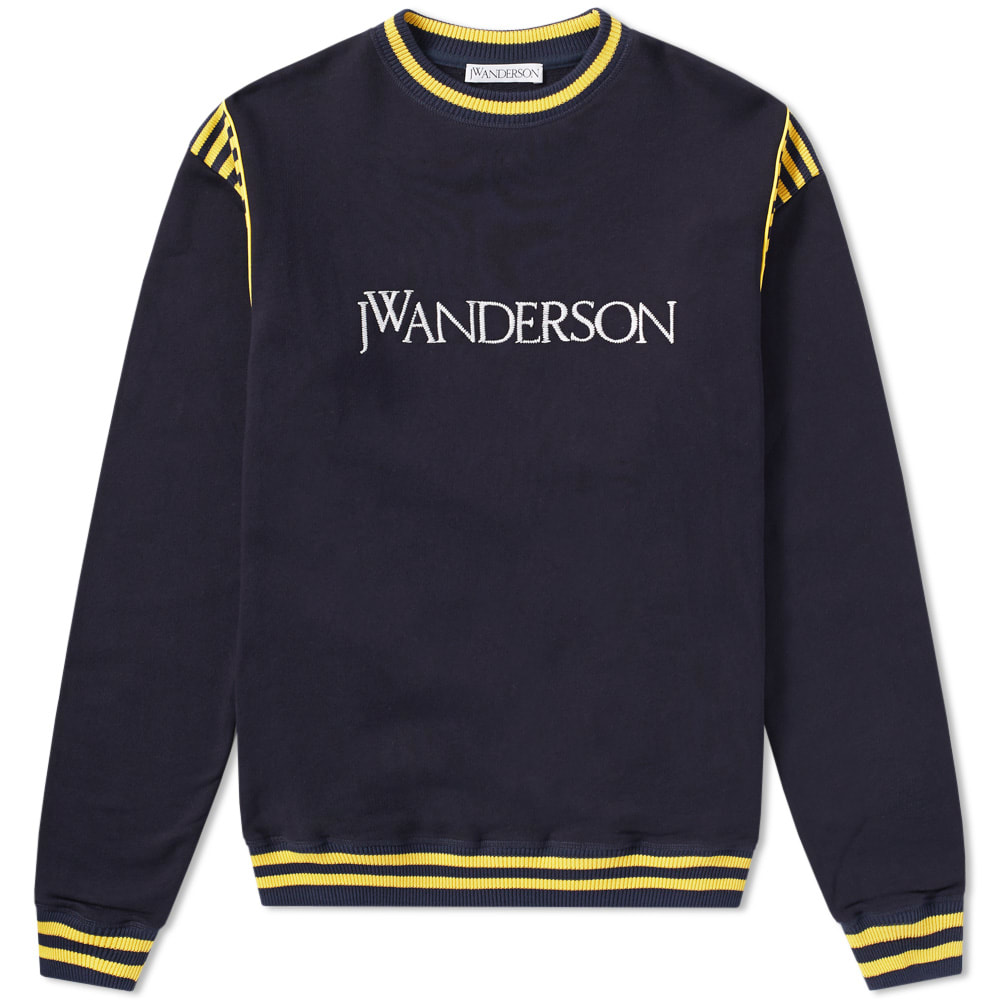 J.W.ANDERSON Jw Anderson - Logo Embroidered Cotton Jersey Sweater - Mens - Navy in Blue