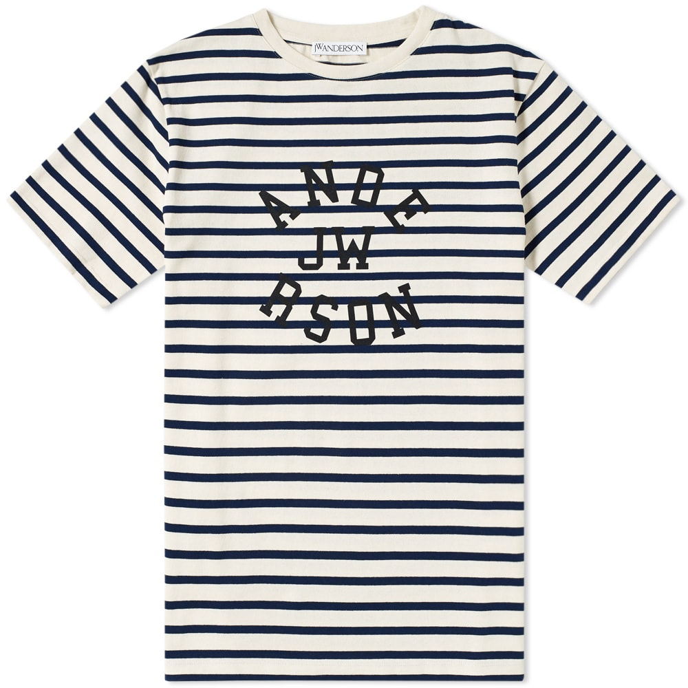d3480372187724 J.W.Anderson Jw Anderson Navy And Off-White Striped Logo T-Shirt In Off