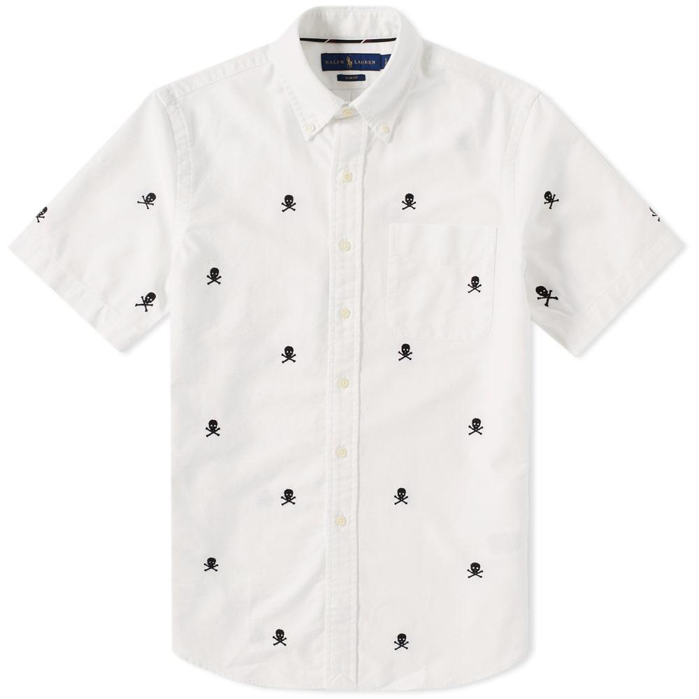 4a457d247660 Polo Ralph Lauren Short Sleeve Skull   Crossbones Embroidered Shirt White