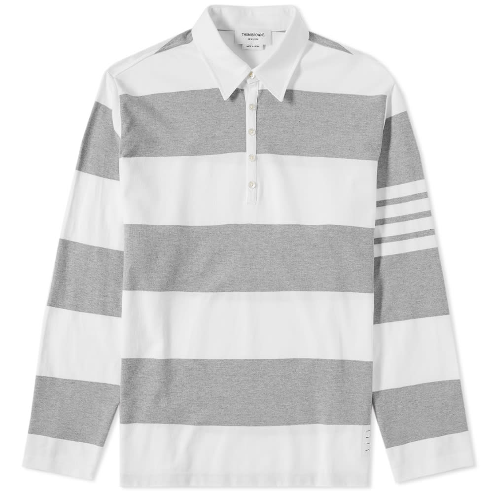 Thom Browne Rugby Stripe Relaxed Fit Long Sleeve Polo In Grey