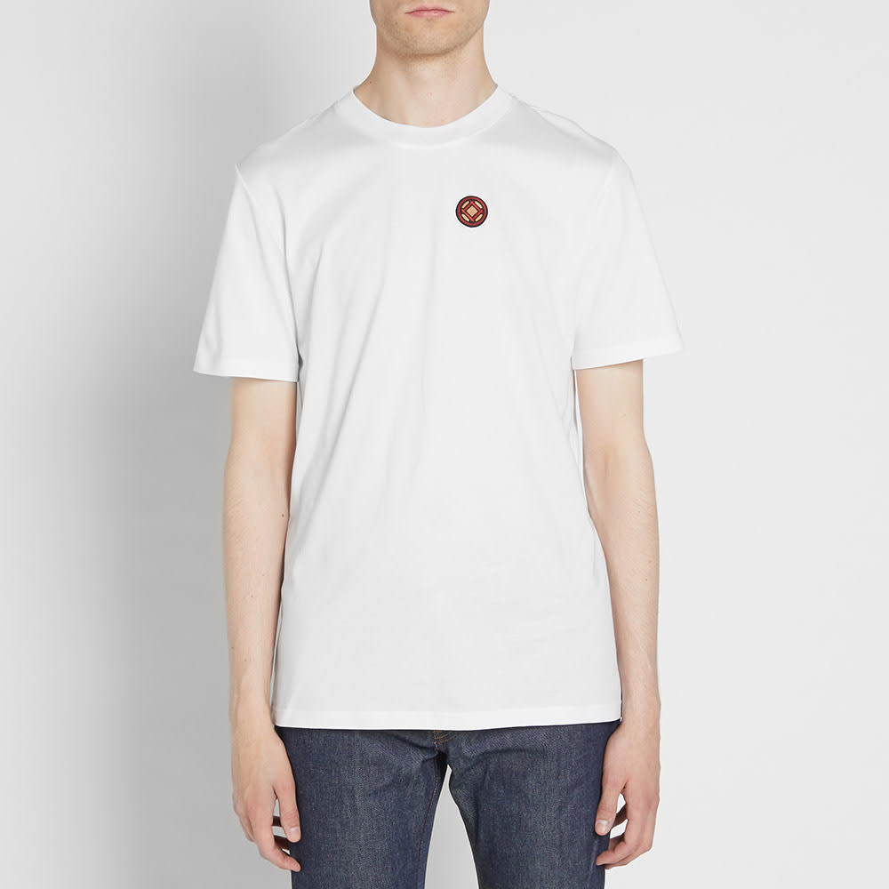 Spring, , Lanvin white & ivory cotton blend t-shirt designed by Alber Elbaz. The base is a normal t-shirt with a drape of satin attached down the left side seam, the right side neckline and down t.