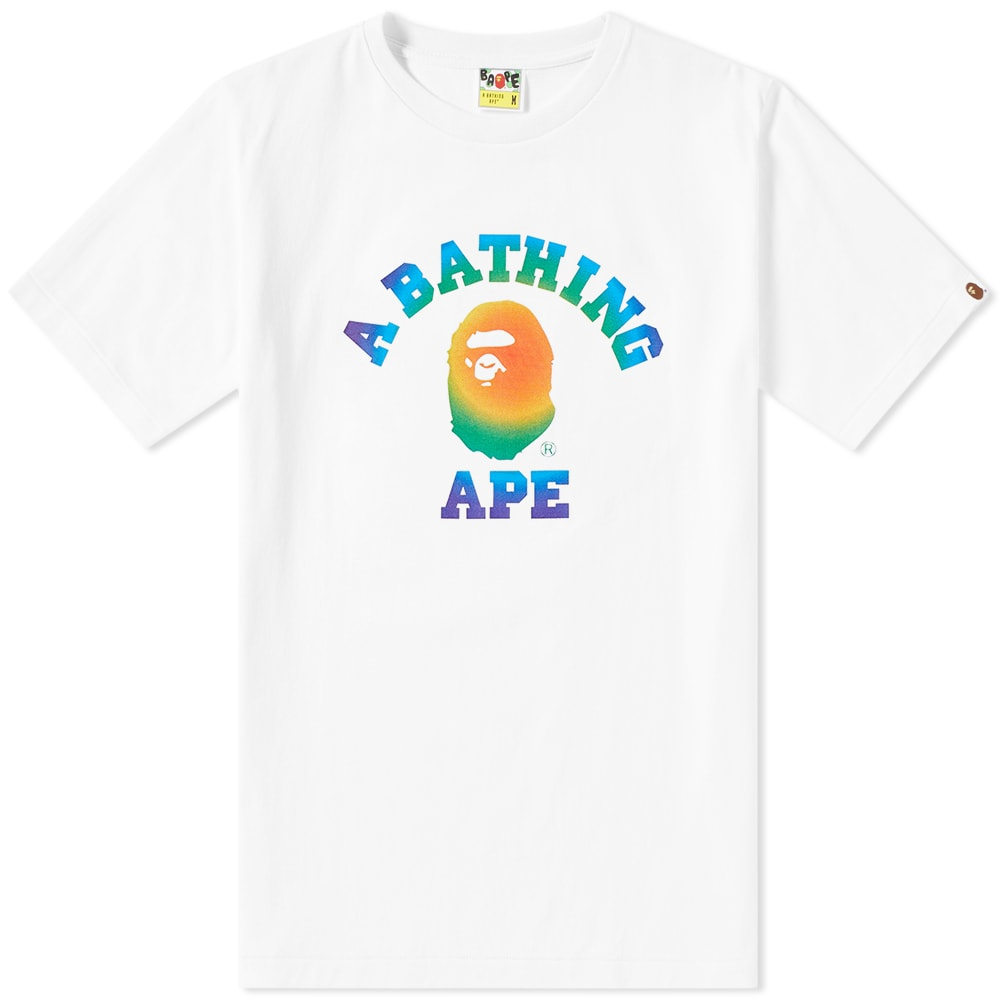 A Bathing Ape Rainbow College Tee In White