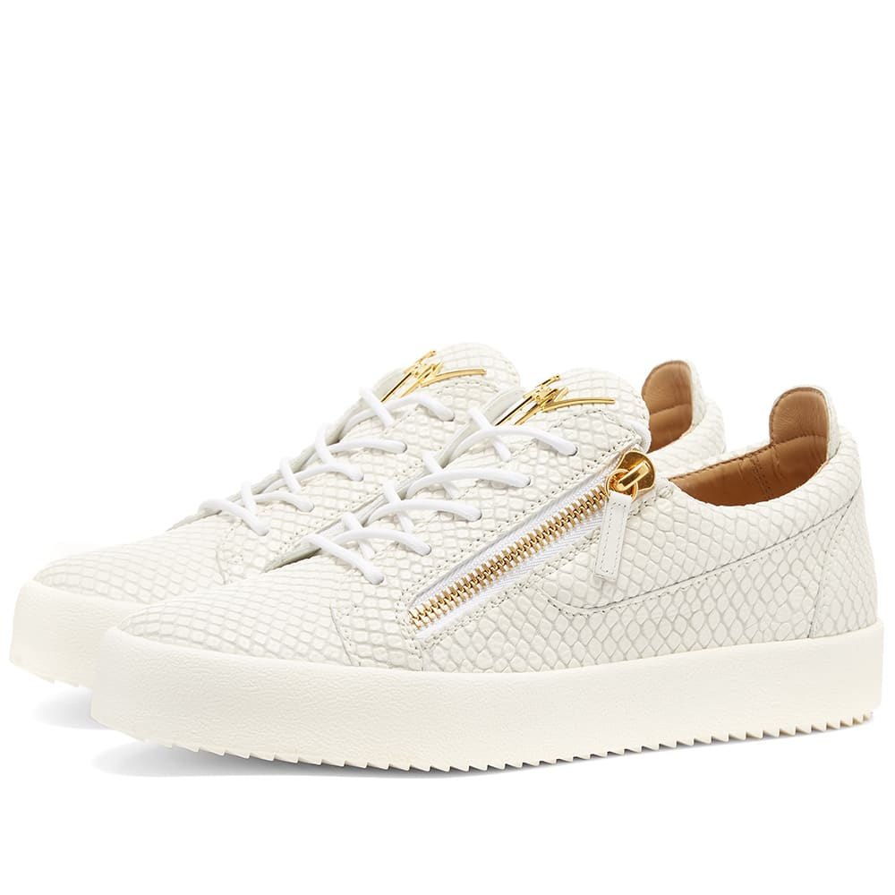cca31ecb5a830 Giuseppe Zanotti Men's London Double-Zip Leather Low-Top Sneakers In White