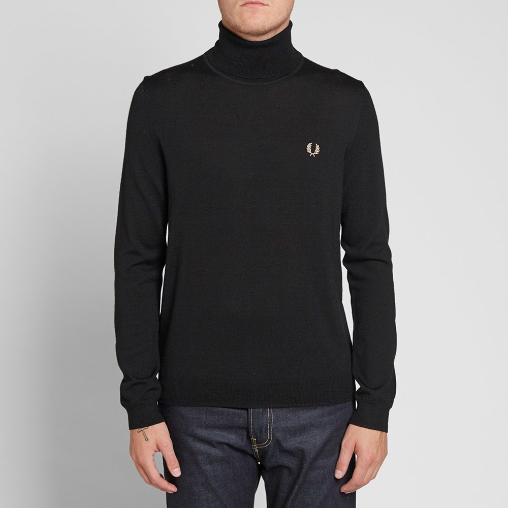 fred perry merino roll neck knit black. Black Bedroom Furniture Sets. Home Design Ideas