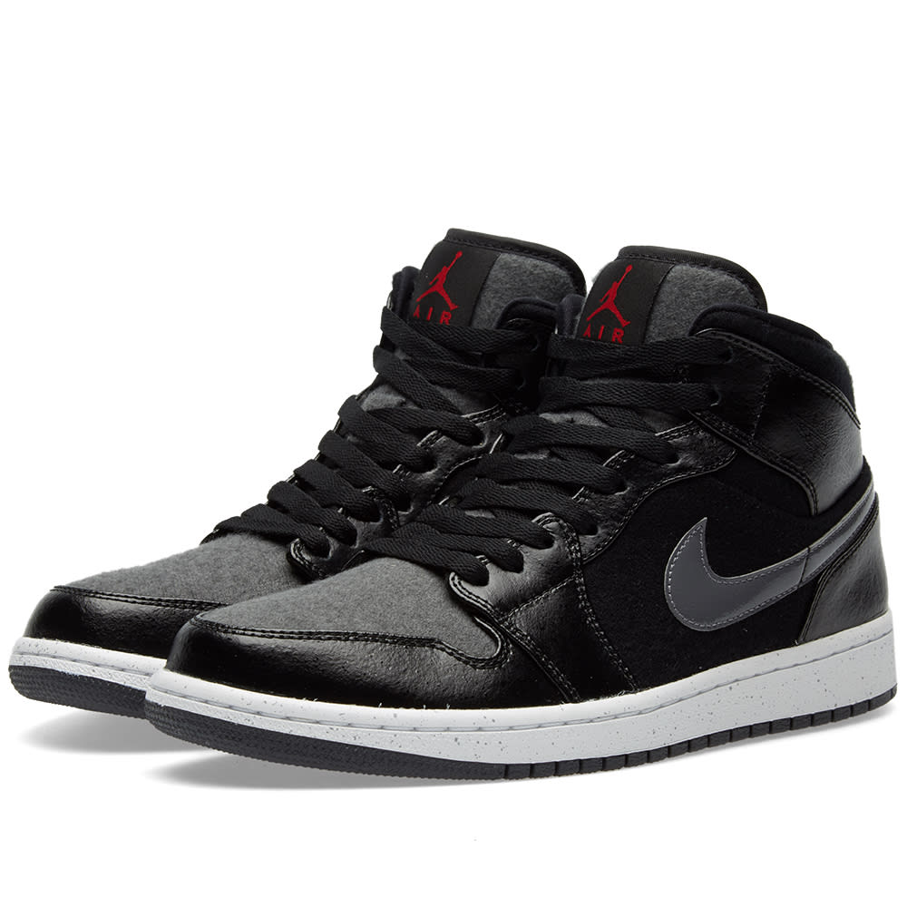 big sale b60ff f7787 Nike Air Jordan 1 Mid Winterized Black, Gym Red   Grey   END.