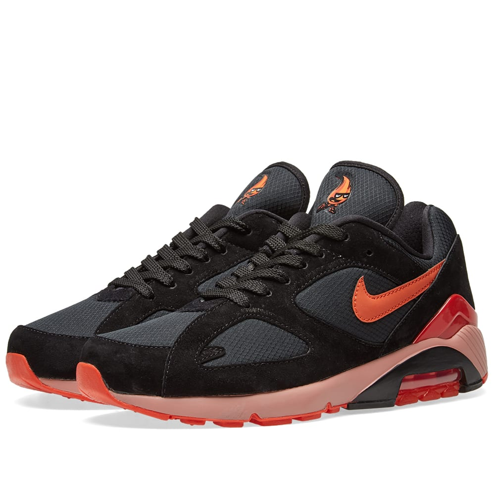 buy popular 221ad 2713a Nike Air Max 180 Black   Team Orange   END.