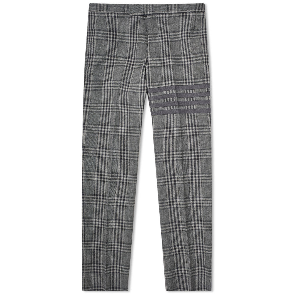 Thom Browne Prince Of Wales Four Bar Trouser In Grey