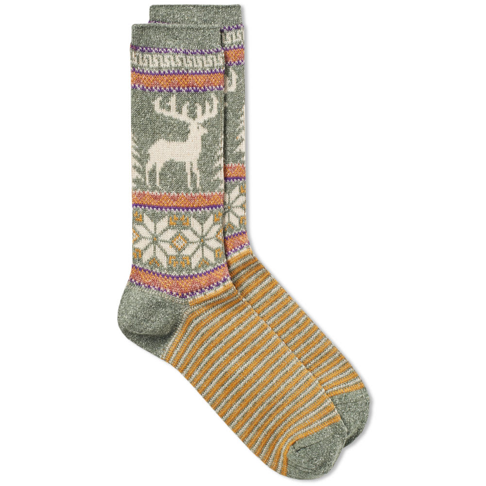 ANONYMOUS ISM Anonymous Ism Deer Snow Jacquard Crew Sock in Multi