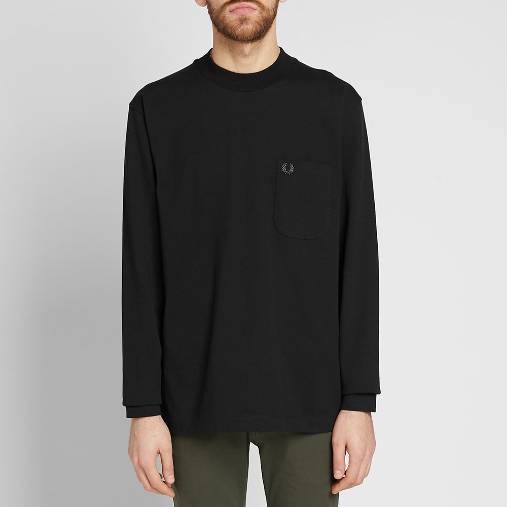 ee52198c2b71 Fred Perry Long Sleeve High Neck Tee Black | END.
