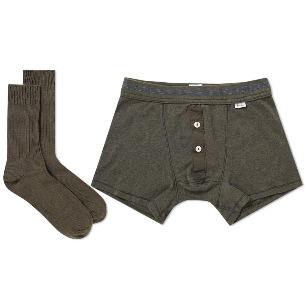 SCHIESSER Schiesser Boxer Short And Sock Pack in Green