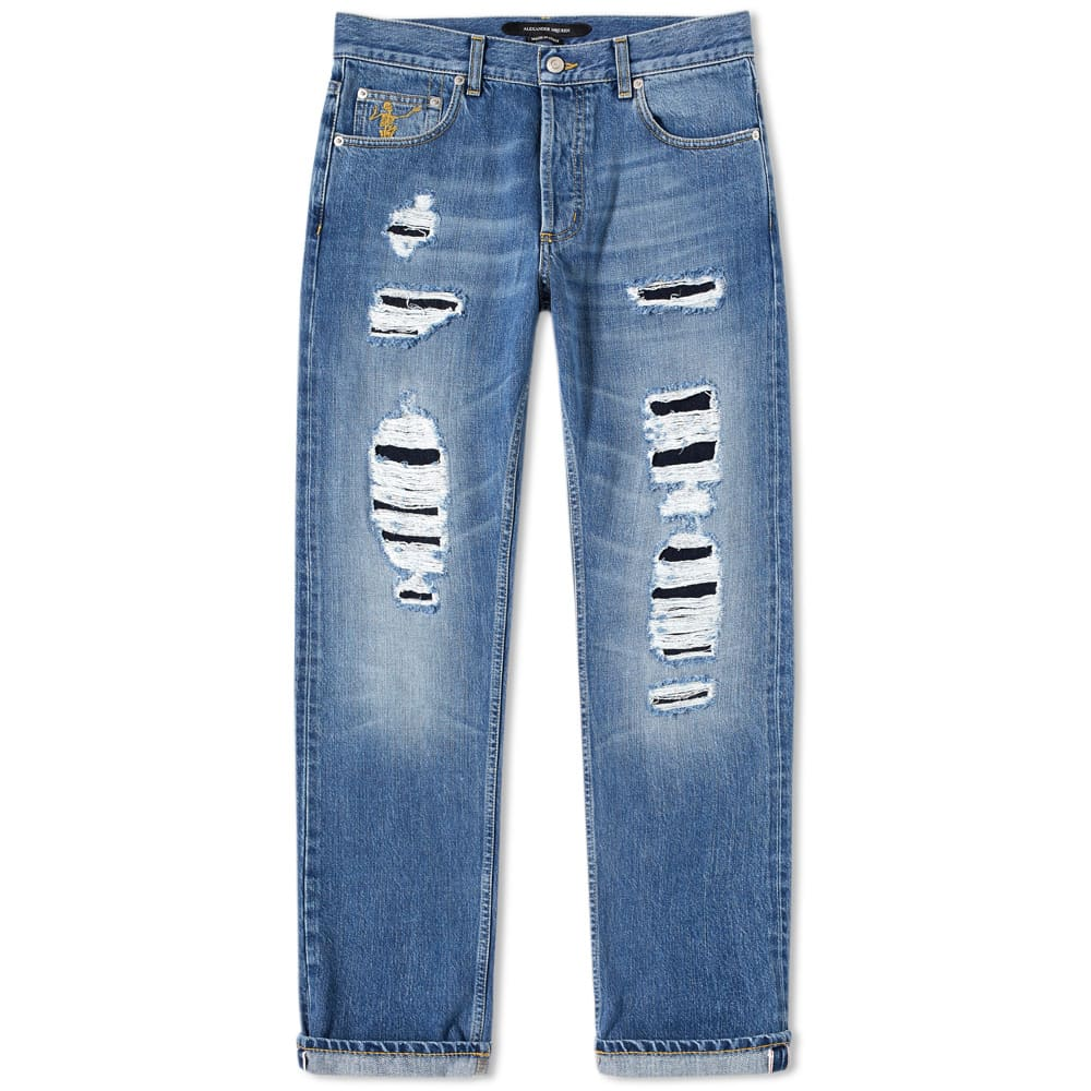 Alexander Mc Queen Distressed Slim Fit Jeans by Alexander Mc Queen