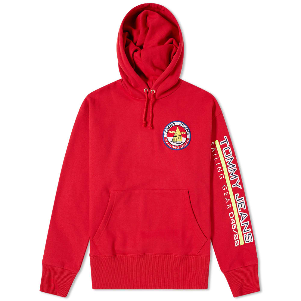 TOMMY JEANS 90S Sailing Capsule Back And Sleeve Logo Hoodie In Red - Red
