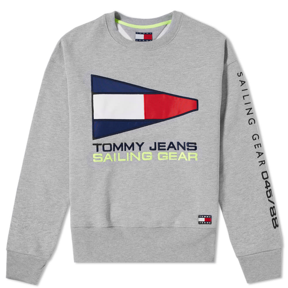ca7bbb44 Tommy Jeans 5.0 Women's 90s Sailing Logo Crew Sweat Light Grey Heather |  END.
