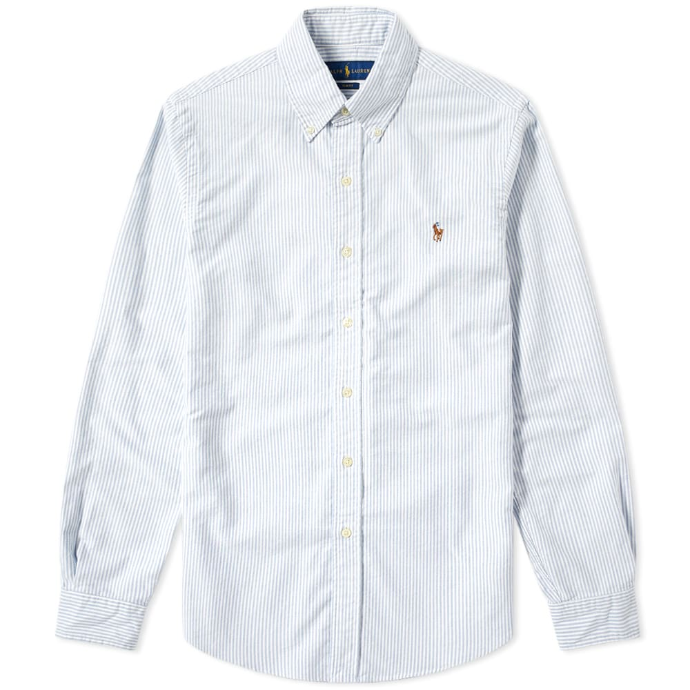 eb8cd140ad184 Polo Ralph Lauren Slim Fit Button Down Stripe Oxford Shirt Blue & White |  END.