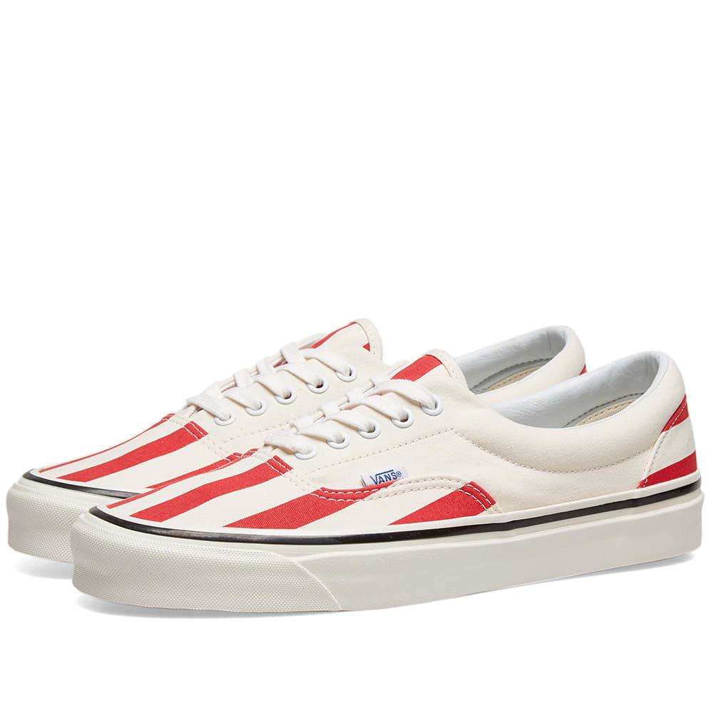 Vans Mens Anaheim Era 95 Dx Og Stripe Sneaker In White In Og Red Wht